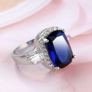 Blue Sapphire & Cubic Zirconia. 925 Sterling Silve